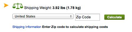 Vikten visas i din Shopping Cart (här riktigt maxat, till nästan 4 lb / 1,8 kg :-))