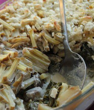 Smarta upp ett recept: Jordärtskockslåda med vitlöksslungad grönkål