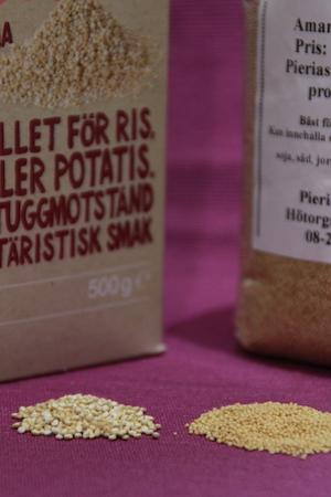 Quinoa: små frön. Amarant: pytte-pyttesmå frön.